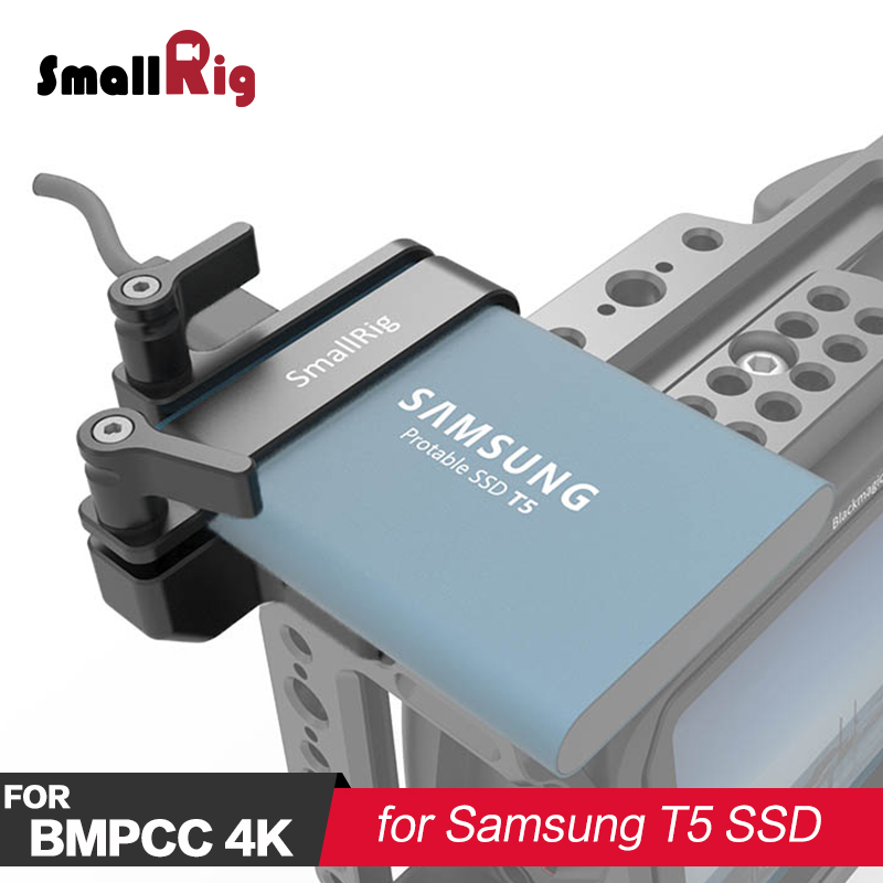 SmallRig Mount for Samsung T5 SSD DSLR Camera Rig For BMPCC 4K 2245 smallrig mount for samsung t5 ssd card holder mount compatible with smallrig cage for bmpcc 4k 2203 2245
