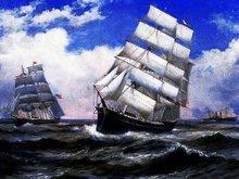 Tapices de pared del duende del envío libre, barcos en el mar cuadro de la pared decorativos, tamaño 30×40 cm, barco de vela