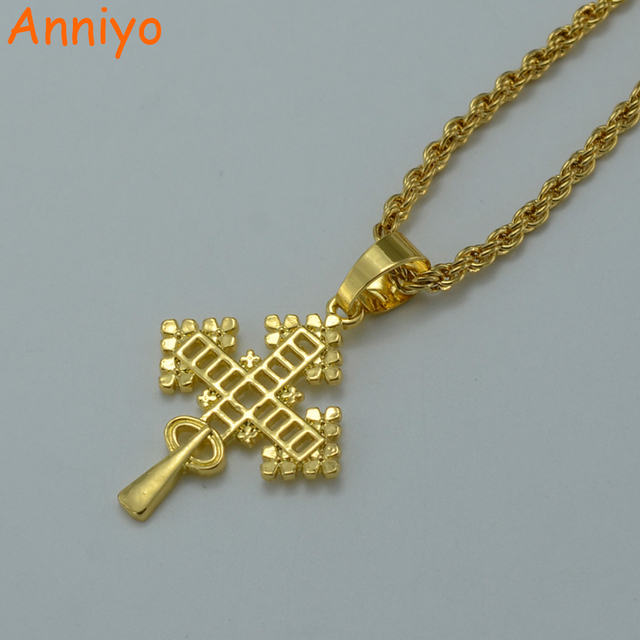 Anniyo Ethiopian Gold Cross Pendant Necklaces Women Gold Color