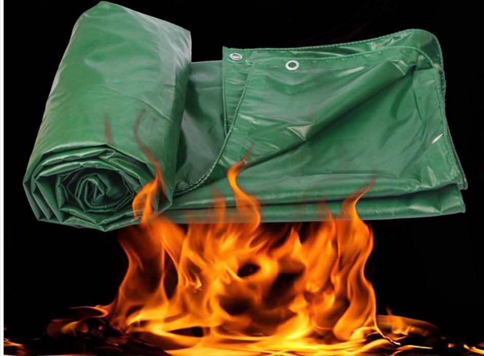 Customized 500g sqm 2mx2m fire retardant high temperature resistant tarp waterproof dustproof tarpaulin Outdoor fire protective