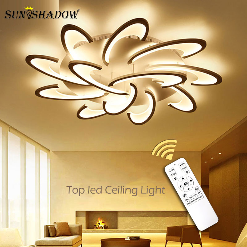 Plafonnier Surface LED Ceiling Light For Living Room Bedroom Kitchen Lustre Acrylic Led Chandelier Ceiling Lamp White Body Light