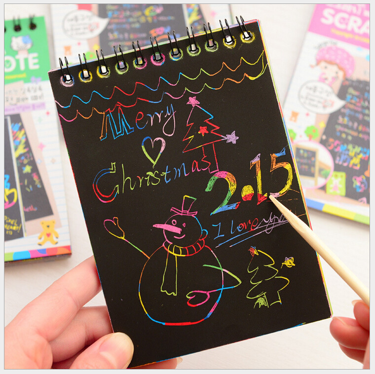 10 Page Magic Antistress Coloring Books For Children Adult Kids Drawings Scratch Note Book Black Cardboard Stationery Paper