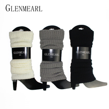 Knitted Women Leg Warmers Fall Winter Warm Cover Leggings Kneepad Crochet Grey White Black Compression Ladies Boot Leg Warmer 40(China)