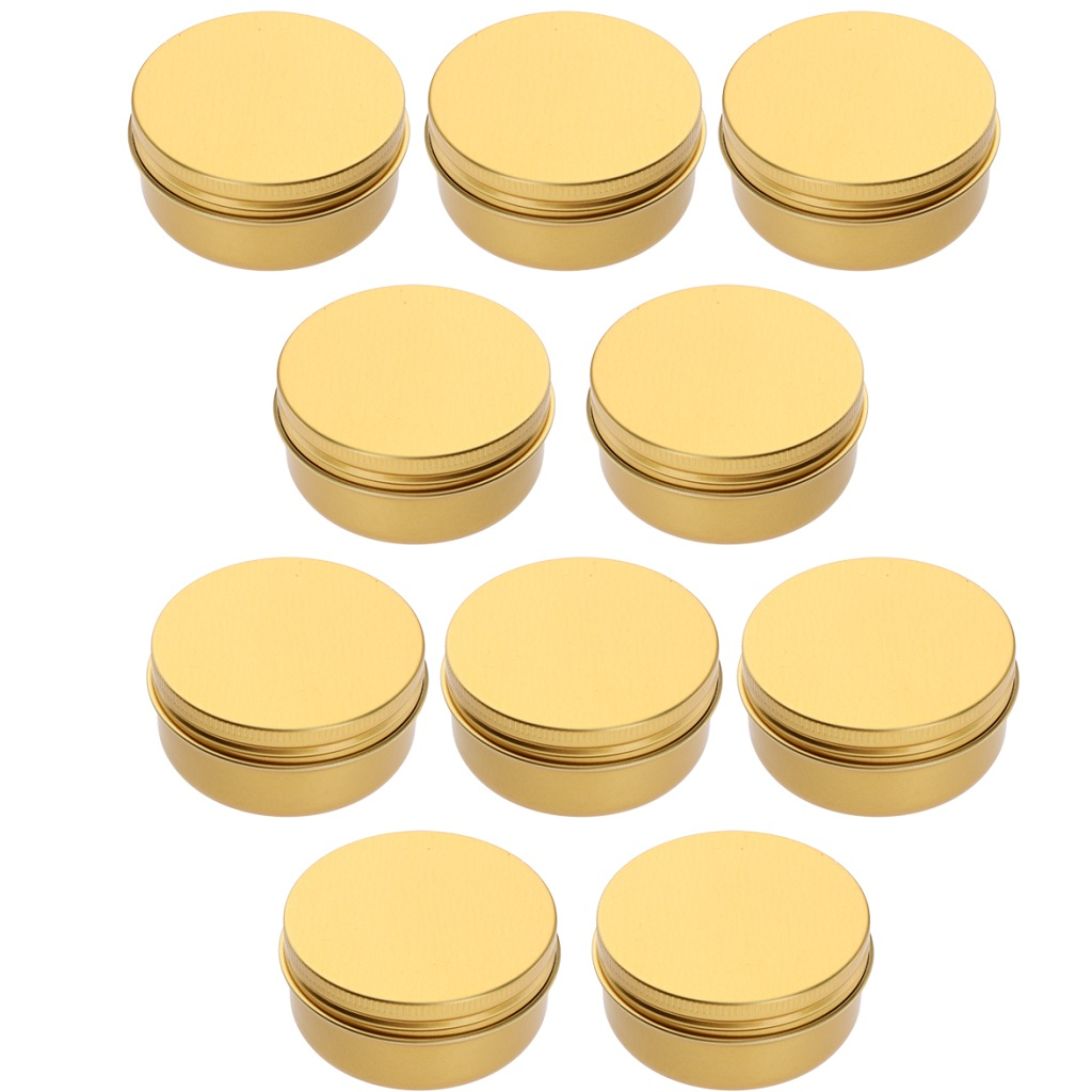 10 Pack Screw Top Round Steel Tin Cans Aluminum Metal Tin Flat Storage Container for DIY Beauty,Cosmetics,Accessories