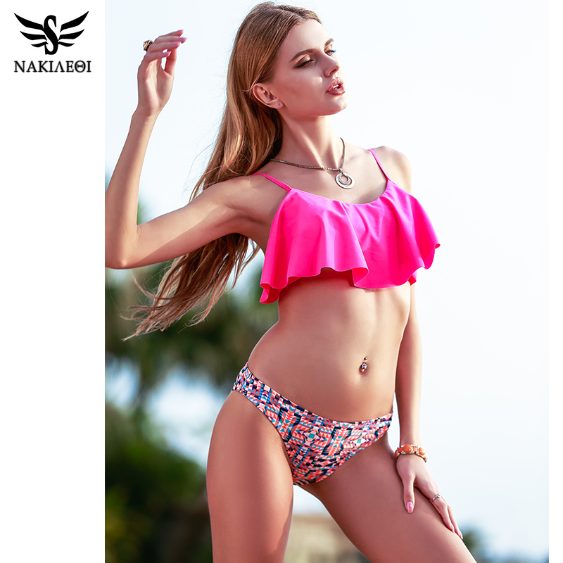 NAKIAEOI 2018 New Sexy Bikinis Women Swimsuit Push Up Swimwear Bandage Print Brazilian Bikini Set Ruffle Bathing Suits Swim Wear 2