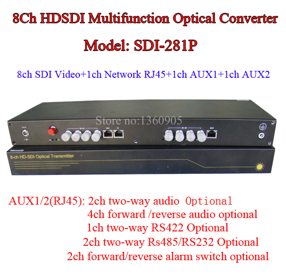 1080P 8CH HD-SDI Multifunction Optical Media Converter -Video/Audio/Ethernet RJ45/RS485 Data /Alarm To One Fiber 20KM SM FC Port