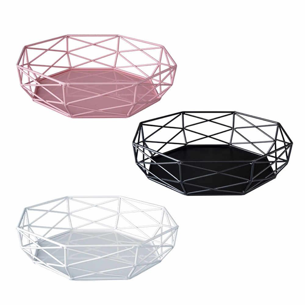 Nordic Logam Berongga Baki Penyimpanan Modern Chic INS Kuningan Buah Kue Dessert Plate Mewah Perhiasan Berwarna-warni Display Tray Dekorasi Rumah