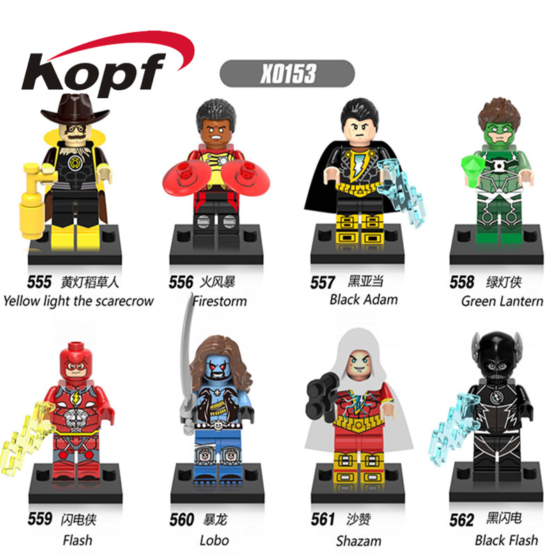 Single Sale Super Heroes Yellow Light the Scarecrow Black Adam Green Lanten Firestorm Building Blocks Children Gift Toys X0153