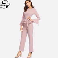 Sheinside Pink Round Neck Flare Sleeve Ruffle Elegant Two Piece Set Flounce Cuff And Hem Self Belted 3/4 Sleeve Top & Pants Set