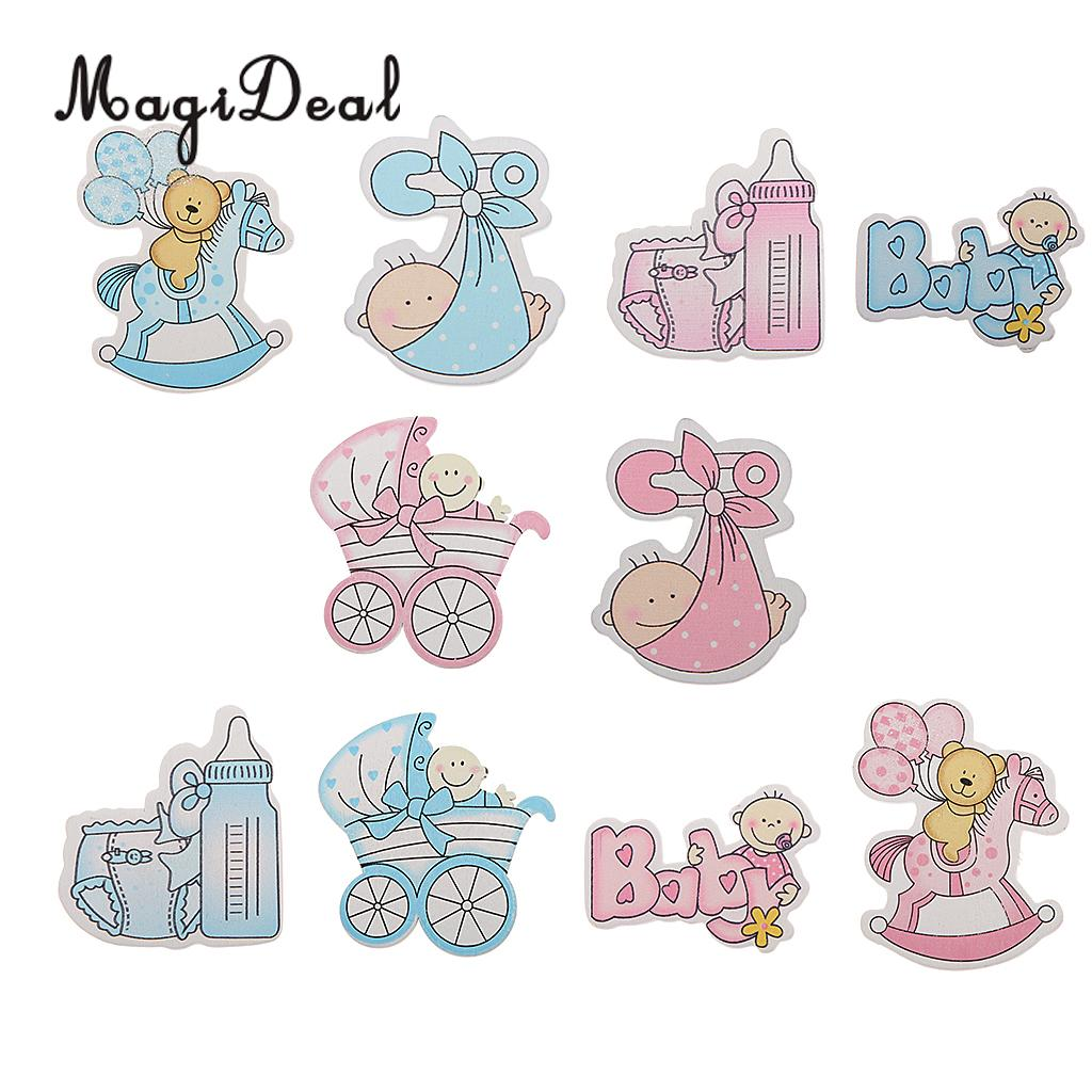 MagiDeal Novelty 10Pcs Wooden Pink/ Blue Horse Carriage Embellishments Card Making Baby Shower Childrens Day DIY Craft Favor