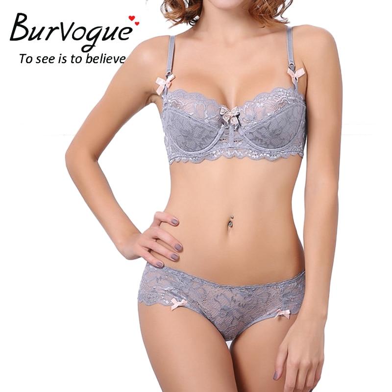 dd4aec9a74c1 Burvogue Sexy Bra Sets Plus Size Push up Bra and Panties Set Thin Cotton  Lace Bra Set Lingerie Women Bras and Underwear sets