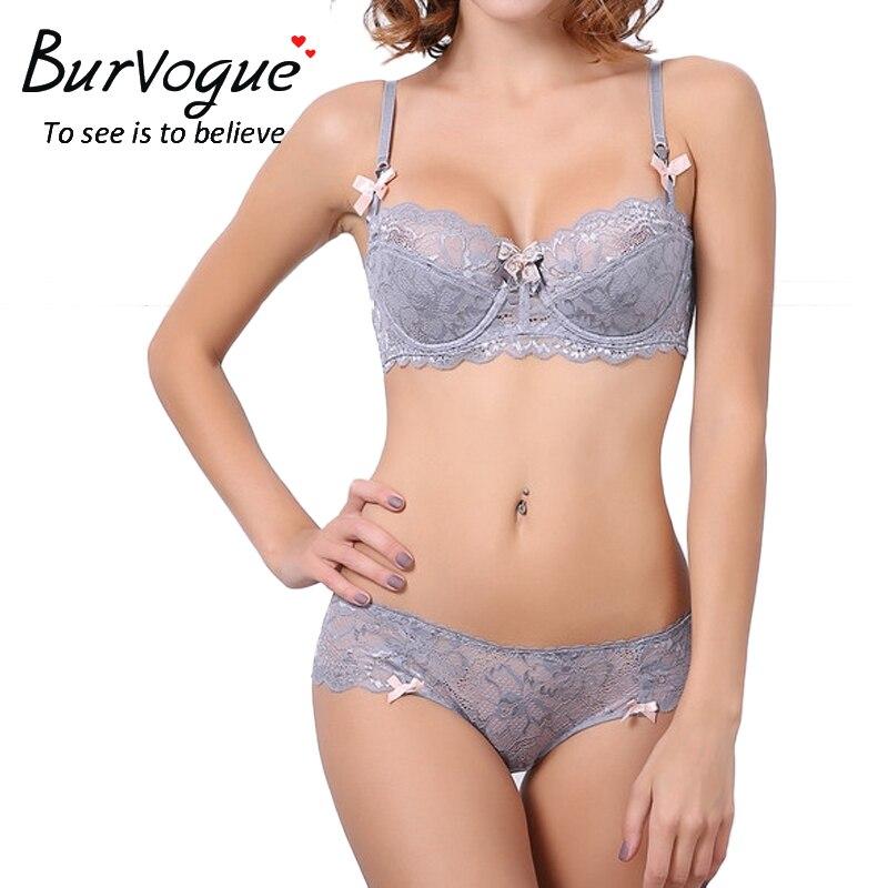 Burvogue Sexy   Bra     Sets   Plus Size Push up   Bra   and Panties   Set   Thin Cotton Lace   Bra     Set   Lingerie Women   Bras   and Underwear   sets