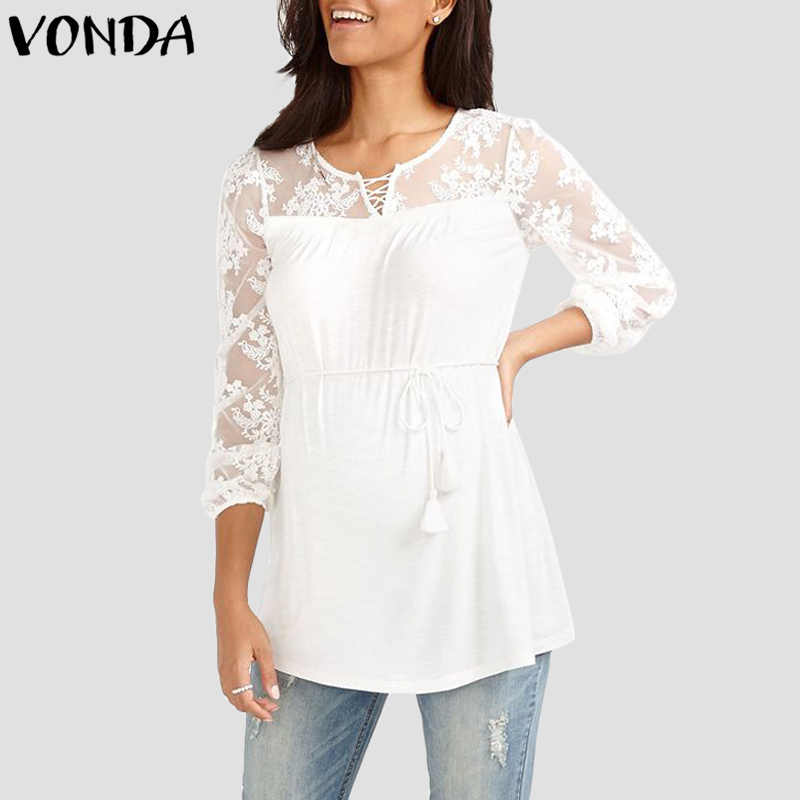 VONDA Women Blouses Lace Patchwork Chiffon Floral Print Shirts Sexy Female Blusas Long Sleeves See Through Mesh Tops Plus Size