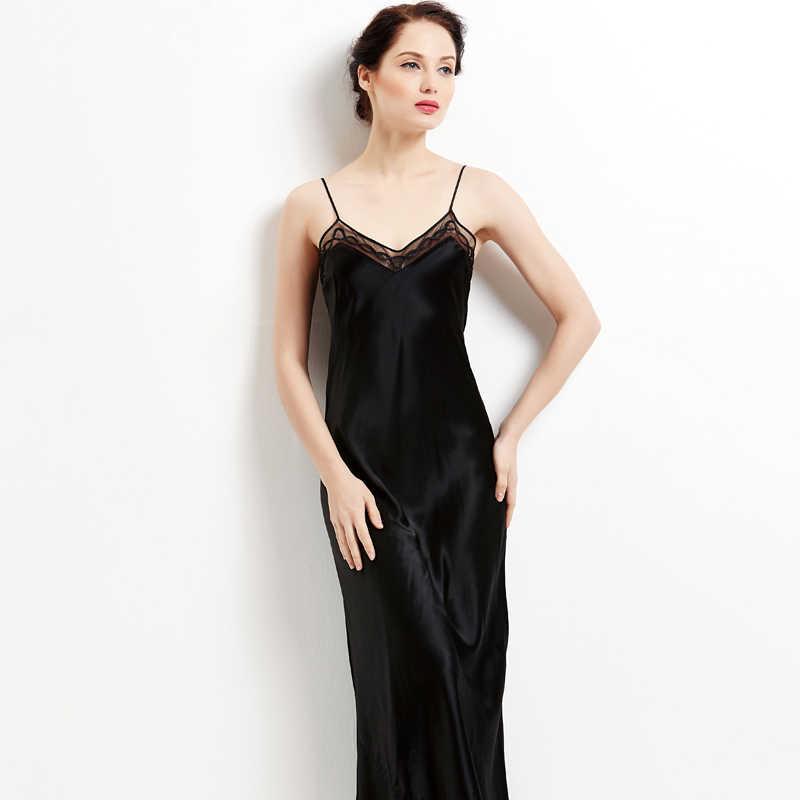 699b540ddf59542 Белый Черный Длинные ночные рубашки женские пикантные 100% чистого шелка  пижамы домашние платья шелковые рубашки