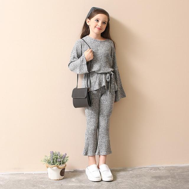 fe09870f346d Комплекты одежды для девочек Весна-осень Подростков Вязаная одежда для  девочек серый свитер рубашка Брюки