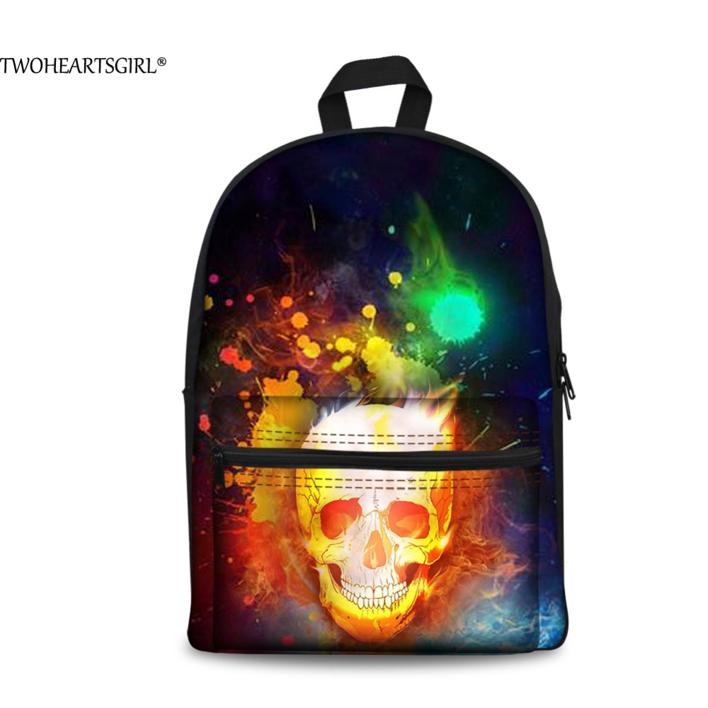 TWOHEARTSGIRL Black Cool Skull 3D Printing Canvas Backpack for Women Travel Bagpacks Student School Back Packs Korean Rucksack