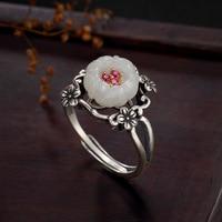 Tự nhiên hetian jade 925 sterling silver nhẫn handmade thiết kế cổ điển trắng jade hoa mận nhẫn đối với phụ nữ charms jewelry