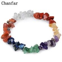 Chanfar 8Styles Crystal Gravel Bracelet Natural Bracelet Elastic Chips Single Strand Bracelet Women Men Jewelry