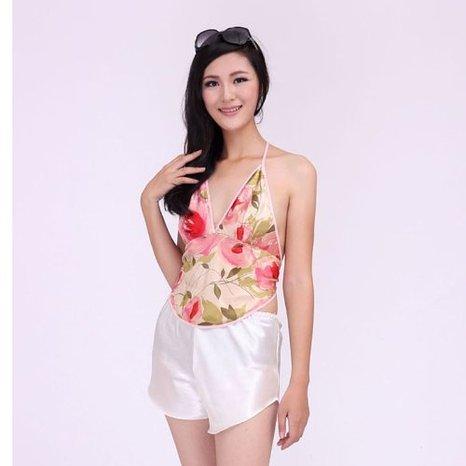 100% seda amoreira seda com decote em v impresso-estilo chinês peito cobrindo legal cueca adulto sexy-estilo chinês peito cobrindo