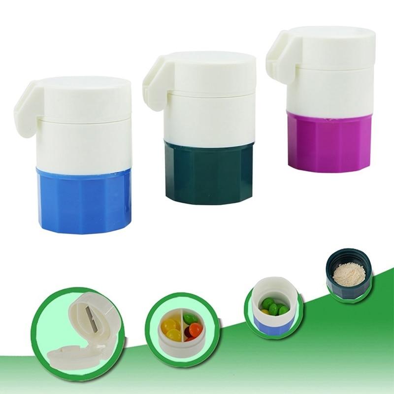 Fashion Pill Medicine Crusher Grinder Splitter Tablet Divider Cutter 4 Layer Storage Box J2Y
