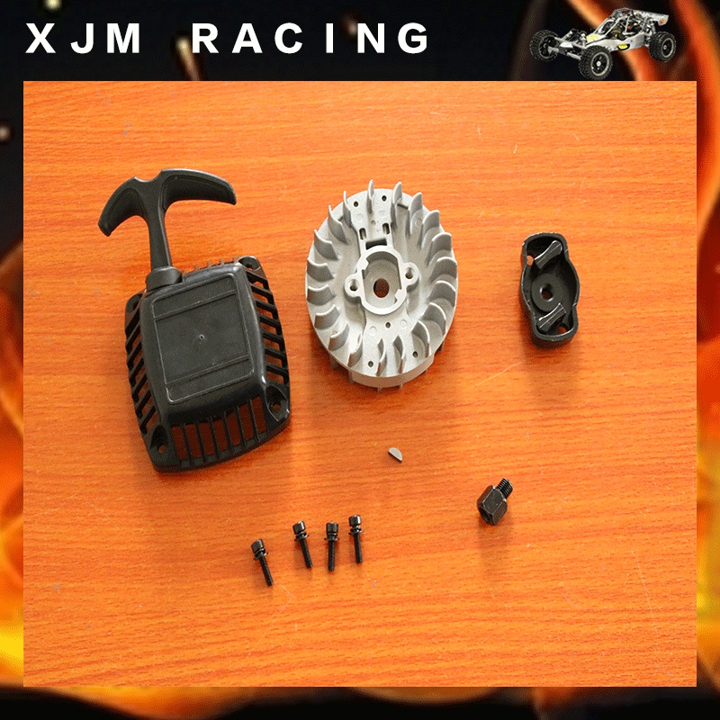 New easy start, Pull starter and Fly wheel for 1/5 hpi rovan km baja 5b/5t/5sc engine parts flywheel magneto fits 23cc 26cc 29cc 30 5cc cy fuelie engine for 1 5 hpi baja 5b 5t sc km rovan rc car toy parts