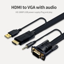1080 HD High Resolution HDMI Male to VGA Male Converter Cable with Audio output Adapter for PC Laptop to HDTV Projecto 6FT 9FT