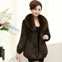 Plus Size L 7XL High Quality Natural Rabbit Fur Jackets Women Large Real Fox Fur Collar Slim Waist Real Fur Coats Overcoats