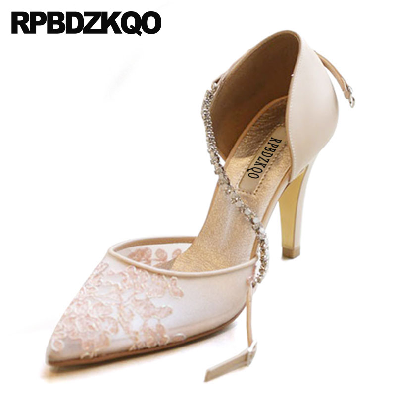 pink crystal shoes women 2019 8cm mesh ankle strap high heels thin pointed toe sandals diamond evening pumps rhinestone lacepink crystal shoes women 2019 8cm mesh ankle strap high heels thin pointed toe sandals diamond evening pumps rhinestone lace