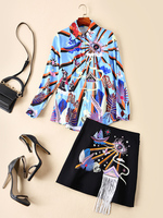 European and American women's fashion 2019 spring new style Long sleeve Abstract printed shirt Embroidered fringe skirt suit