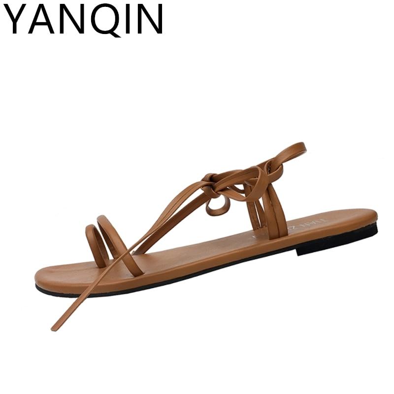 YANQIN Summer New Sandals Women Fashion Simple Pu Flat Sandals Korean Version Toe Rome Beach Lacing Shoes Female Sandals