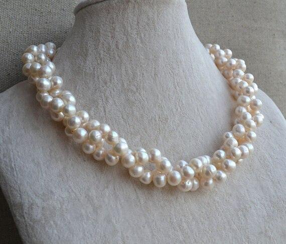100% véritable collier de perles, 18 pouces AA 8-9 MM couleur blanche collier de perles d'eau douce, bijoux de fête de mariage.