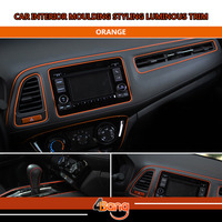 Top Quality 20M Car Interior Console Panel Gear Panel Decoration Styling Trim DIY Strip Luminous Orange