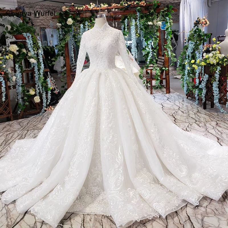 HTL490 Luxury Muslim Wedding Dresses Long Sleeves High Neck Lace Up Back Appliques Ball Gown Lace Wedding Gowns Vestidos De Boda