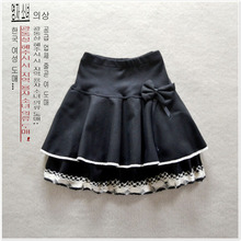 New Wild Stitching Woolen Skirt Polka Dot Lace Slim Skirt High Waist Fluffy Female Skirt Natural  Bow  Casual