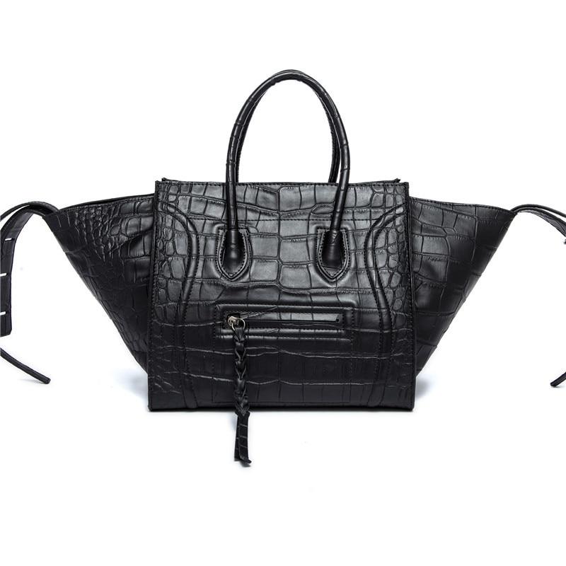 New 2017 Famous Designer Smile Bags Alligator Genuine Leather Women Handbag Trap