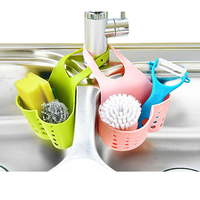 Plastic Hanging Kitchen Sink Caddy Organizer With Snap On Faucet Sponge Holder Rack E