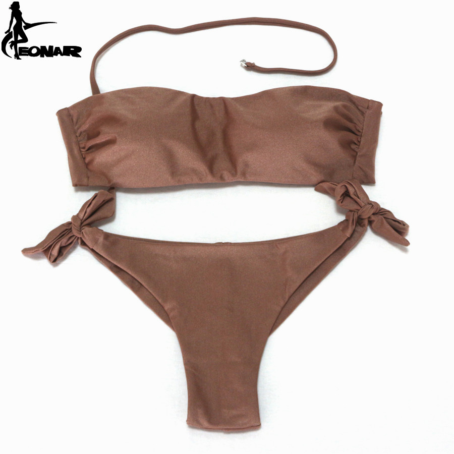 EONAR Swimsuits Women Brazilian Cut Bottom Bikini Push Up Halter Swimwear Bikini Set Maillot De Bain