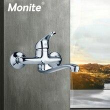 Monite Wandmontage Bad Chroom Messing Badkamer Wastafel Mengkraan Wastafel Kraan Warm & Koud Water Mixer Retail Wasserij Kraan