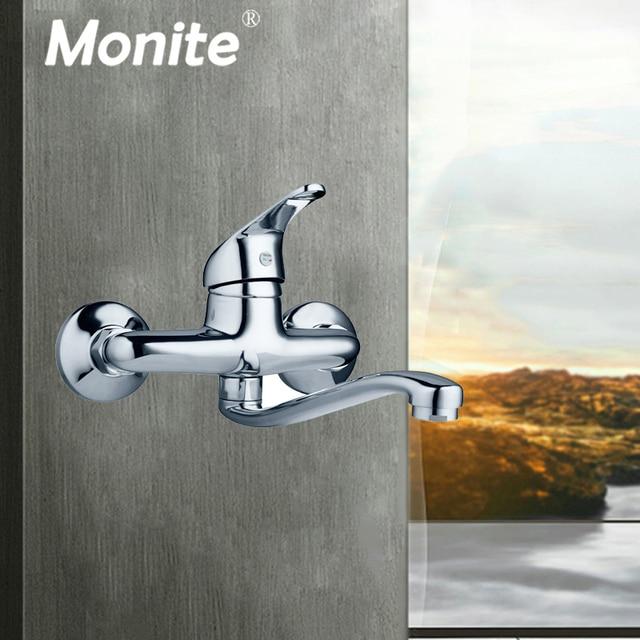 Monite الحائط حوض الاستحمام الكروم النحاس حوض للحمام خلاط صنبور صنبور مصرف خلاط المياه الباردة والساخنة التجزئة الغسيل صنبور