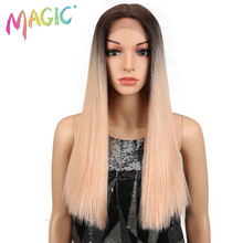 Magic Hair Straight Lace Front Wigs For Black Women 20Inch Middle Part Synthetic Omber Gold Green Cosplay
