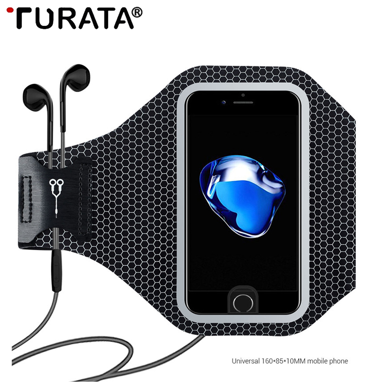 Galleria fotografica Turata Universal Sports Arm Band Cases Bag For iphone 6 6S 7 8 Plus Case GYM Running Fitness Phone Arm Band Accessories Cover