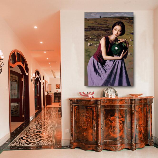 Hot Chinese Movie Star Sexy Actress Nude Art Pictures Oil Painting Wall Decoration -7291