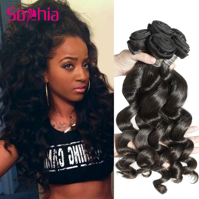 Grade 7a Indian Virgin Hair Loose Curly Wave Human Hair Weave 5
