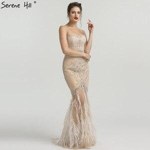 Image 4 - זהב סטרפלס סקסי בת ים נוצות שמלת ערב יהלומים ואגלי טול אופנה שמלות ערב 2020 Serene היל LA6588
