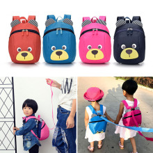 Fashion Children Backpack Anti-lost Canvas Bag Cartoon Animal Bear Pattern Kindergarten Kids Baby School Bags MUG88