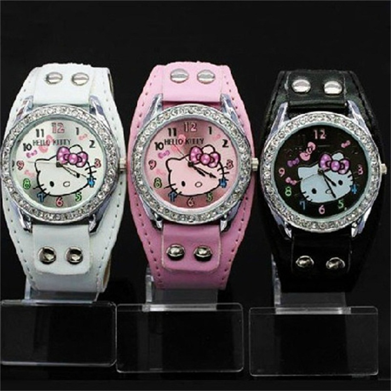 New Hello Kitty Watches Fashion Ladies Quart Watch Vintage Kids Cartoon Wristwatches Analog King Girl Brand Quartz women anne klein часы anne klein 2666rgbn коллекция crystal