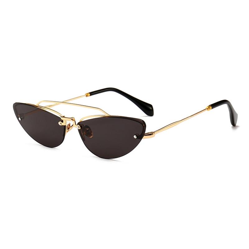 Kattögon smala solglasögon för kvinnor Vintage Design Rimless - Kläder tillbehör - Foto 4