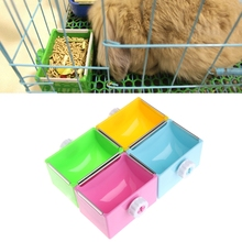 Pet Cat Feeding Bowl Rectangle Plastic Fix Cage Food Water Feeder For Rabbits Pigeon Canary Bird