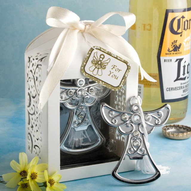 100pcslot Stainless Steel Angel Wedding Bottle Opener Favors Party