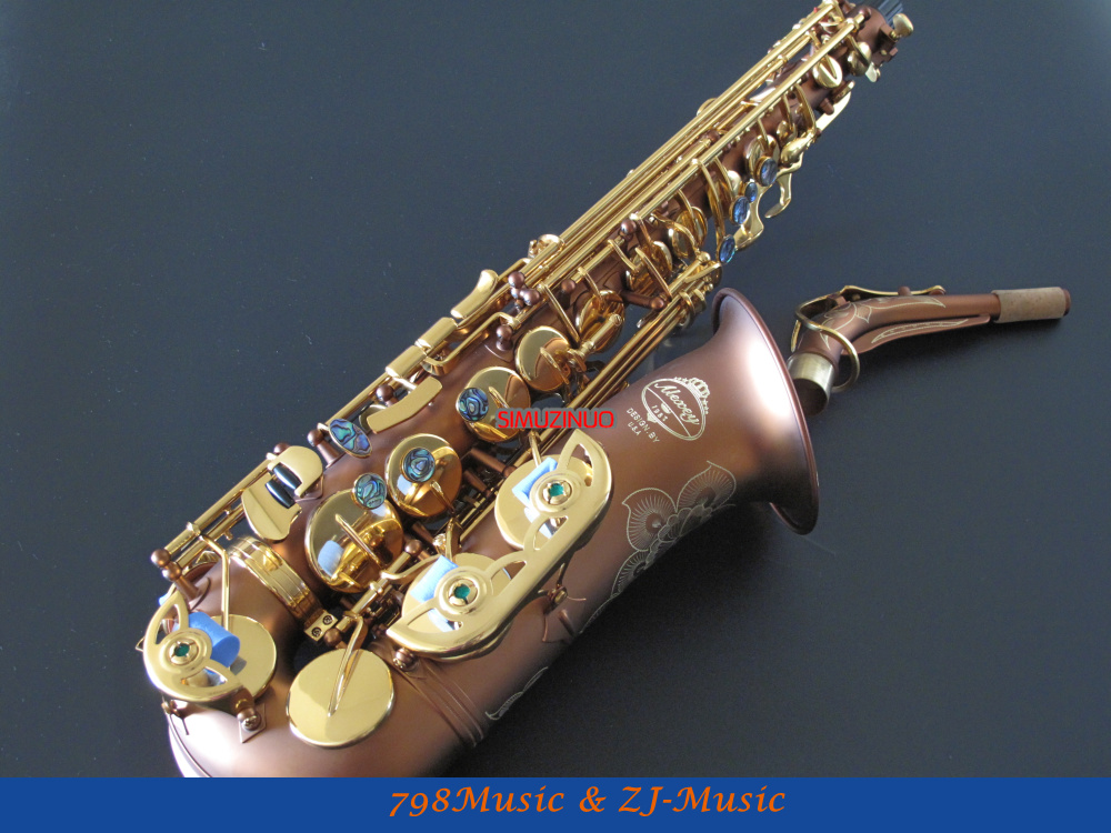 PRO Matte Coffee and Gold Lacquer Keys Alto Saxophone Sax High F# Abalone Shell Key With Case professional rose gold alto sax eb saxophone abalone shell key with case